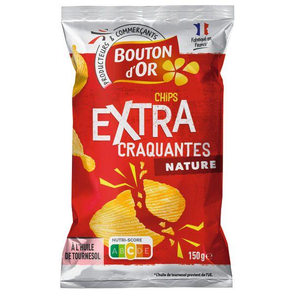 Paquet de chips crénelées extra craquantes Bouton d'or - Natures, paysannes ou barbecue (150g)