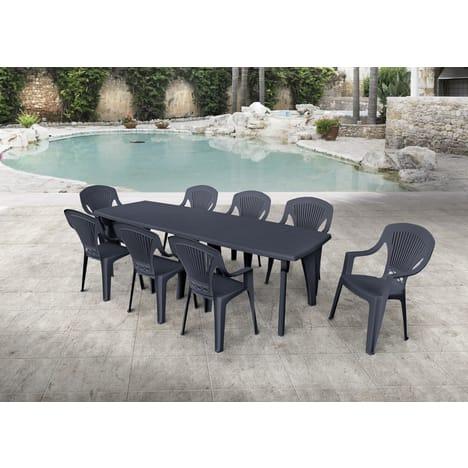 Salon de jardin résine anthracite Lipari 2 - 8 personnes