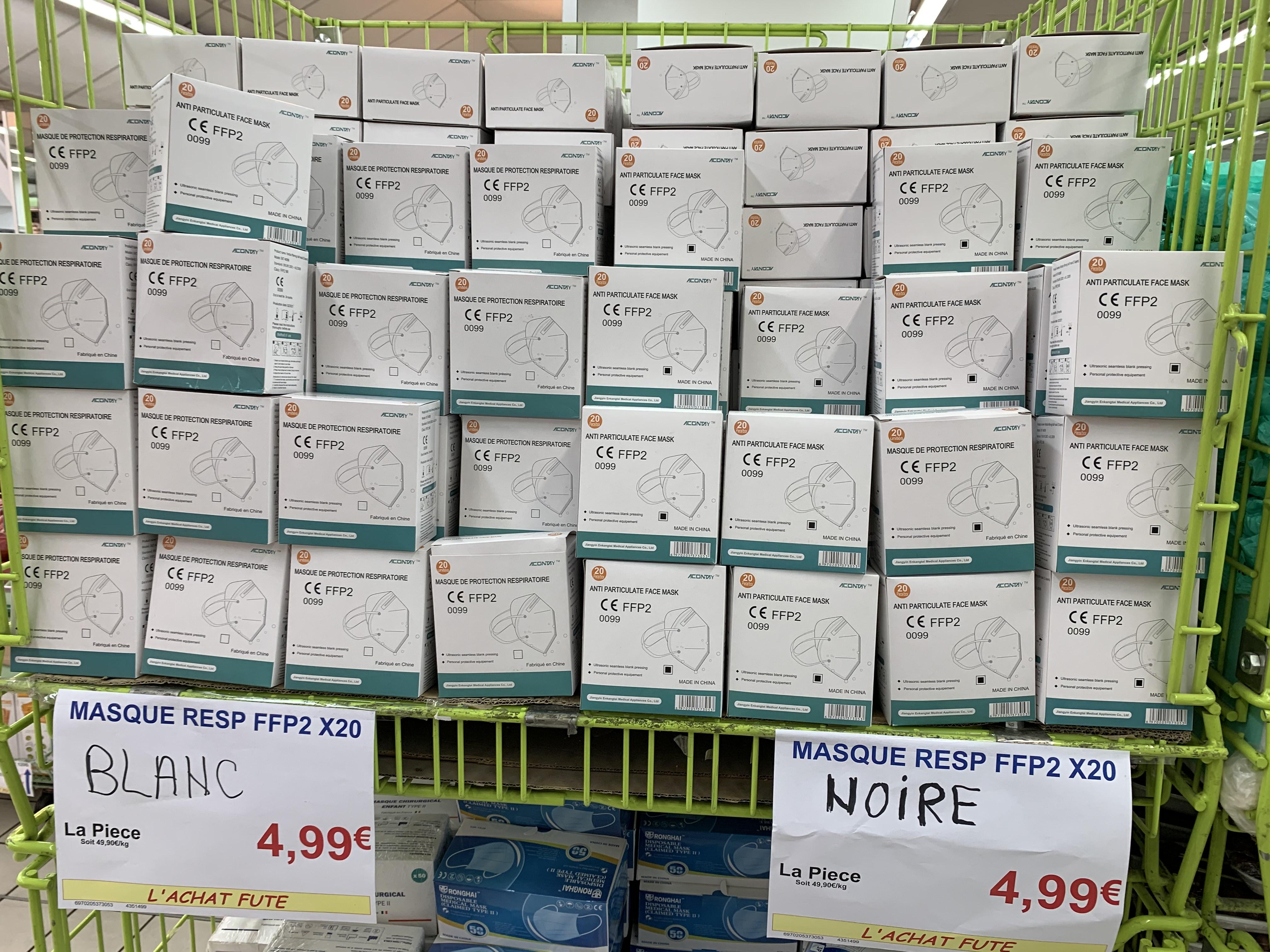 Boite de 20 masques FFP2 - Blanc / Noir - Argenteuil (95)