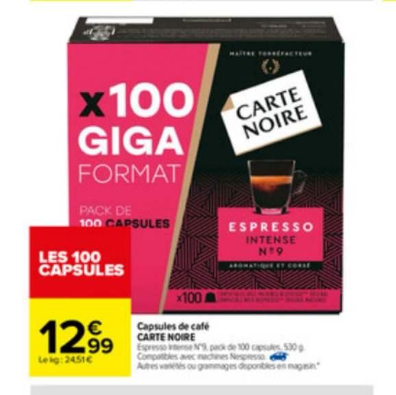 Boîte de 100 capsules de café Carte Noire compatibles Nespresso (Différentes variétés)