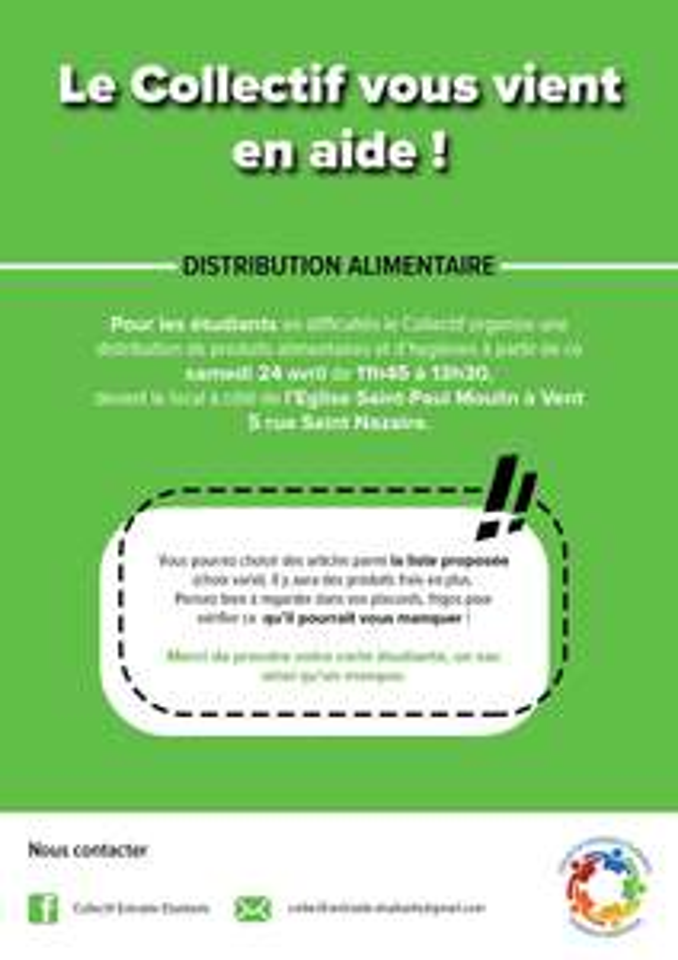 [Étudiants] Distribution de paniers alimentaires et hygiéniques gratuite - Perpignan (66)