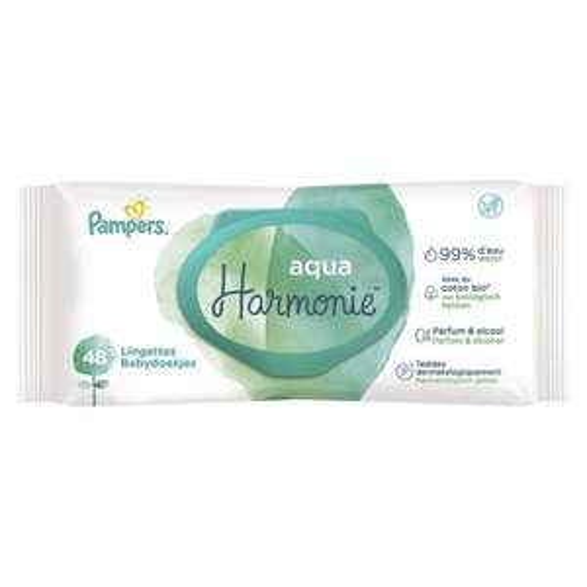 Paquet de 48 lingettes Pampers Aqua Harmonie (via ODR Quoty de 0.80€)