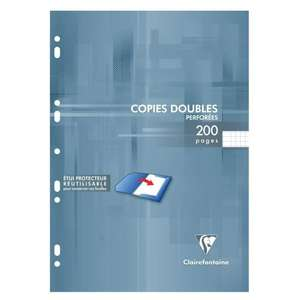 Copies doubles blanches perforees Clairefontaine - 210x297 - 200 pages