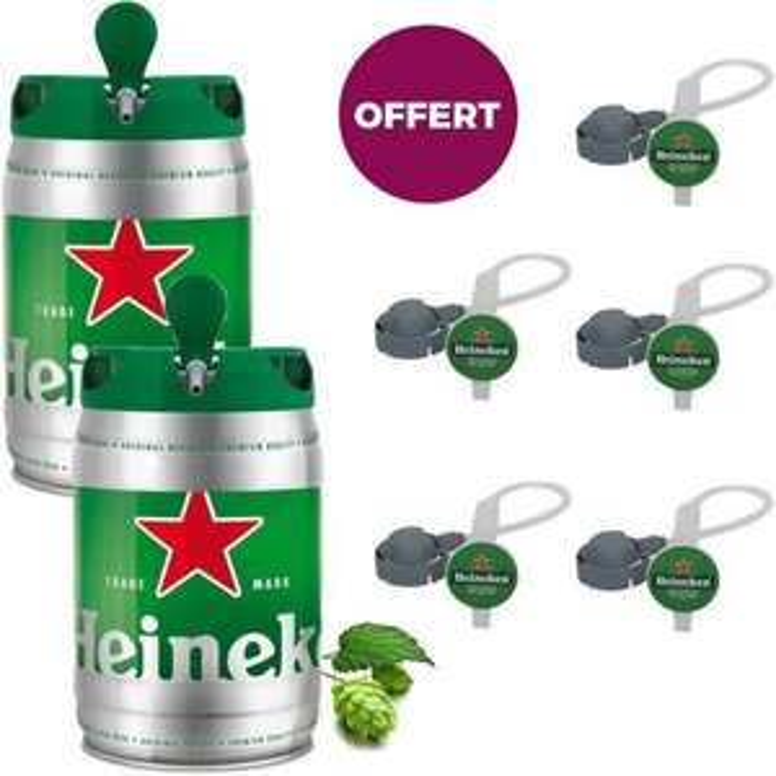 Lot de 2 fûts de bière blonde Beertender Heineken (2x5 L) + 5 tubes