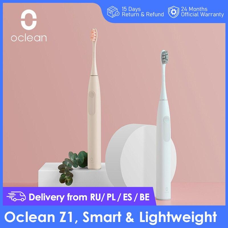 Brosse à dents électrique connectée Oclean Z1 et deux brossettes - Blanc ou Rose