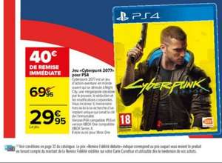 Jeu Cyberpunk 2077 sur PS4 et Xbox One