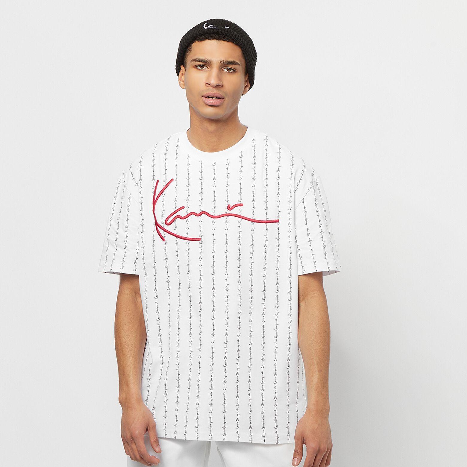 Tee-shirt Karl Kani Signature Logo Pinstripe - blanc (taille S)