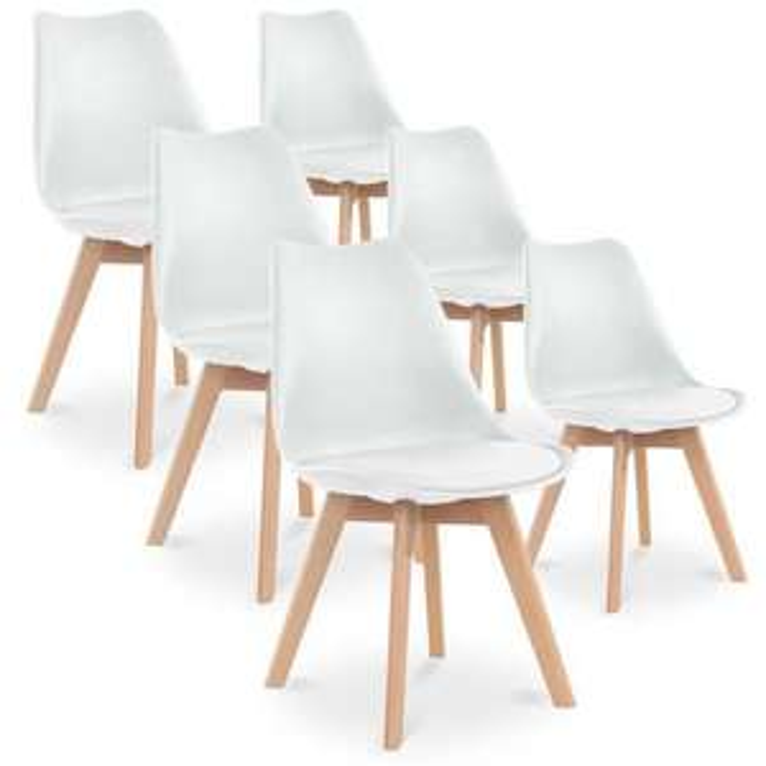 Lot de 6 chaises Catherina - Style Scandinave avec Pieds en bois et Assise rembourrée (Vendeur tiers)