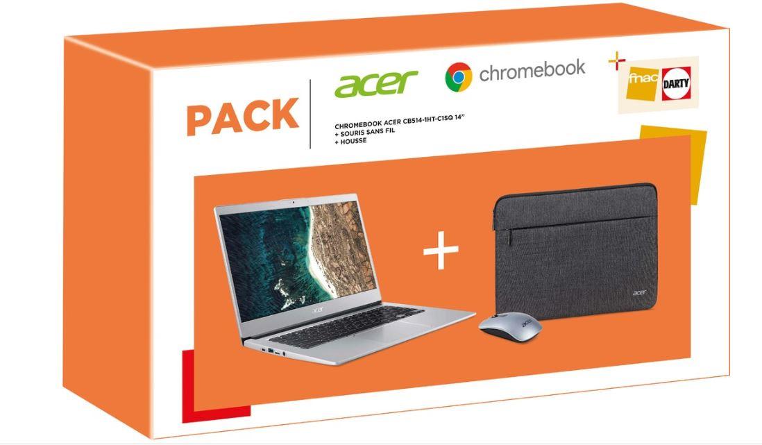 """PC Portable 14"""" Acer Chromebook CB514-1HT-C1SQ - N3350, 64Go, RAM 8Go + Souris sans-fil + Housse (Via Retrait dans une sélection de villes)"""