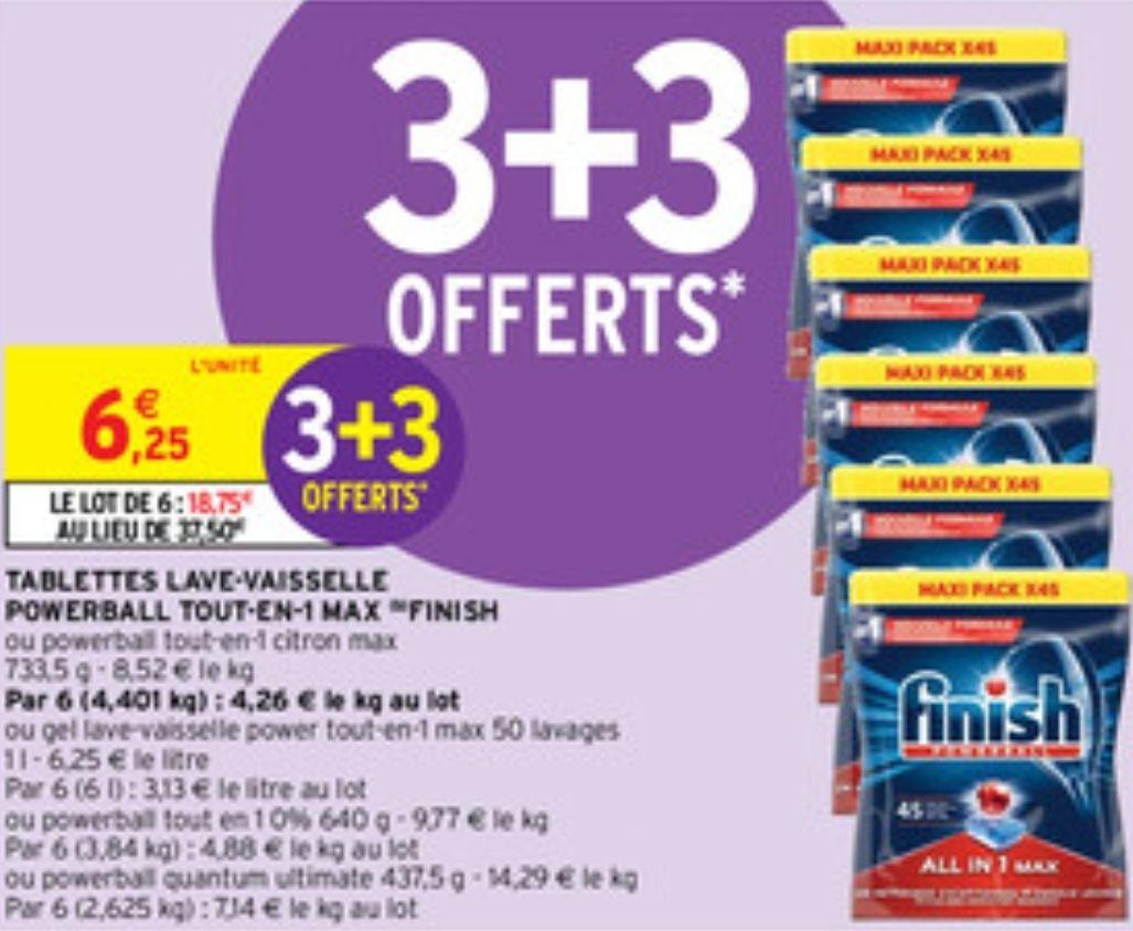 6 Paquets de Tablettes lave-vaisselle Finish PowerBall tout-en-1 Max (6×45 tablettes)