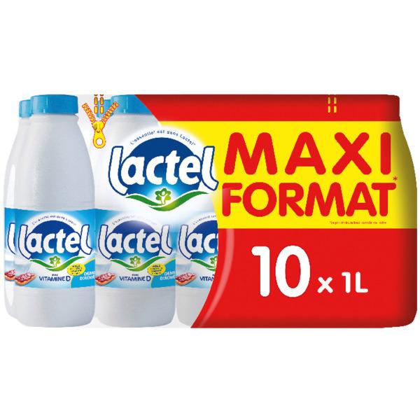 Lot de 2 packs de 10 bouteilles de lait demi-écrémé UHT Lactel - 20x1 L