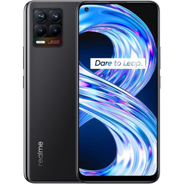 """Smartphone 6.4"""" Realme 8 - 6Go RAM, 128Go Stockage, Noir + Coque en silicone"""