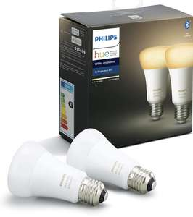 Pack de 2 Ampoules LED Connectées Philips Hue White Ambiance E27 - Bluetooth, Fonctionne avec Alexa (Reconditionné - Comme neuf)
