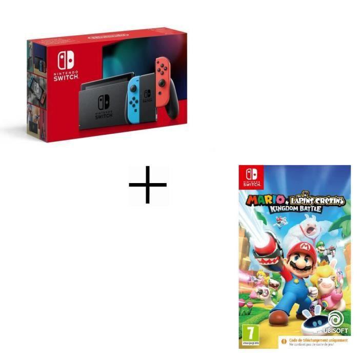 Pack Console Nintendo Switch Néon + Mario + Lapins Crétins