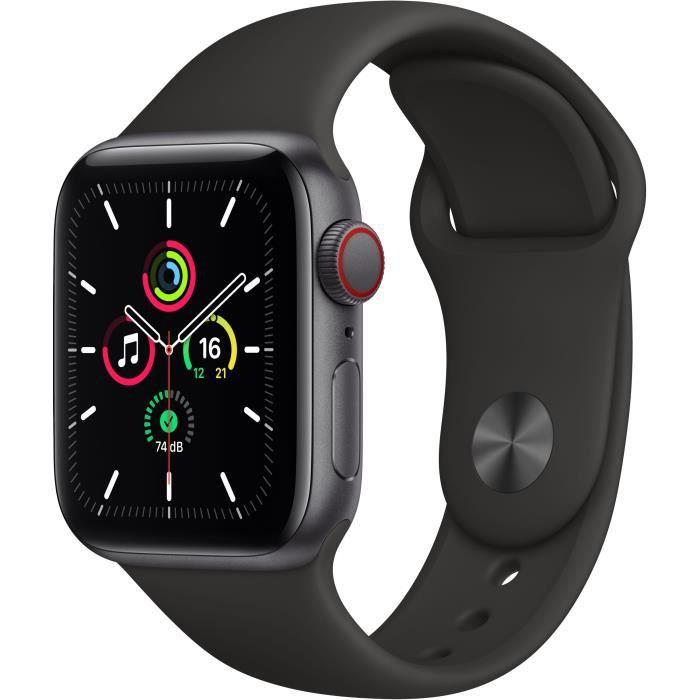 Montre Connectée Apple Watch SE GPS + Cellular, 40mm Boîtier en Aluminium Gris Sidéral avec Bracelet Sport Noir