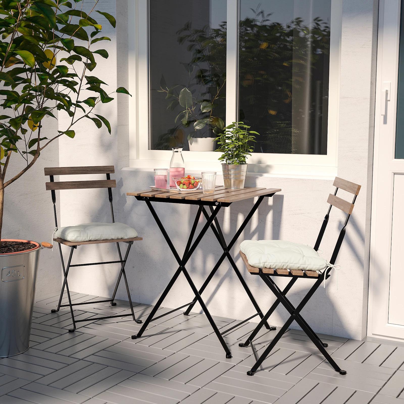 [Ikea Family] Ensemble Table + 2 chaises Tärnö - Extérieur, Noir/teinté brun clair