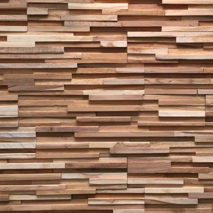 Plaquettes de parement intérieur en bois teck brut recyclé Toscani (le m²)