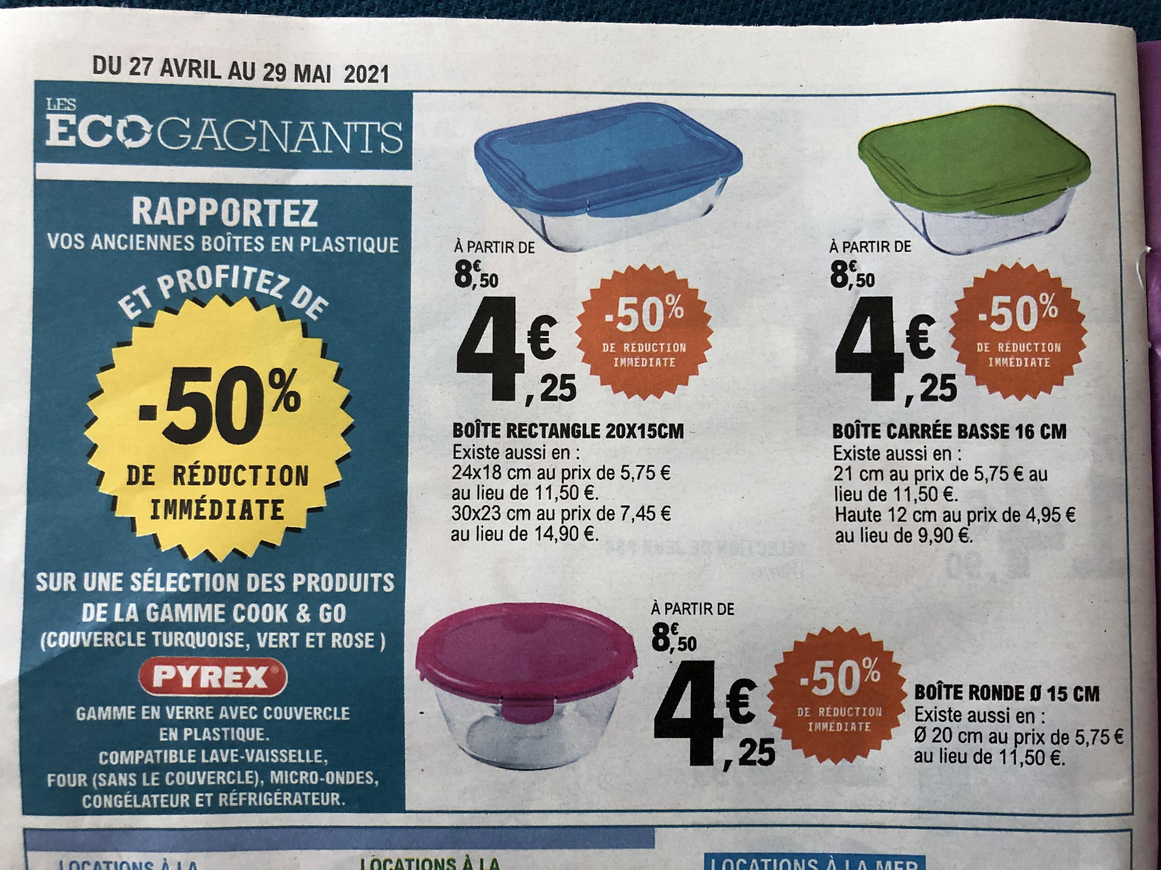 50% de réduction immédiate sur une sélection de produits Pyrex (via reprise d'anciennes boîtes en plastique)