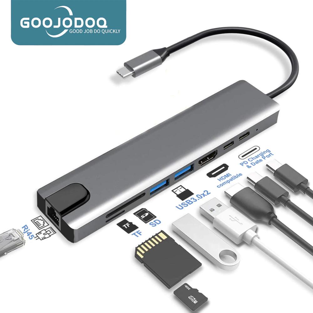 Hub 8 en 1 USB Type-C 3.1 vers HDMI 4K, RJ45, lecteur de carte SD/TF PD, Charge rapide