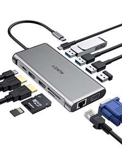 Hub USB Type-C 12-en-1 Aukey - Ethernet, 4K HDMI, VGA, 2 USB 3.0, 2 USB 2.0, 100W PD, Port USB-C, SD / TF (Via coupon - Vendeur tiers)