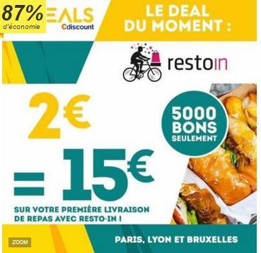 15€ à dépenser dès 20€ d'achat  pour les nouveaux clients RestoIn (Paris / Lyon)