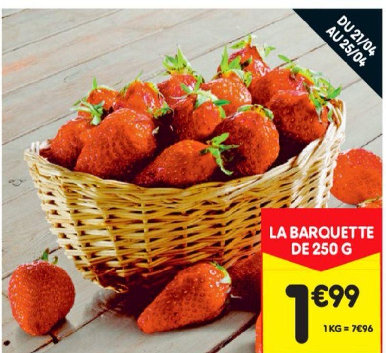 Barquette de fraises Gariguette catégorie 1 origine France (250g)