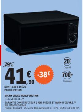 Micro-ondes Radiola RAMW20SMGB - 20L, 700W