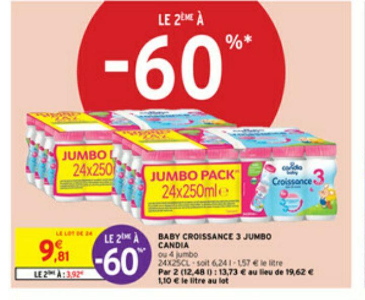 2 Packs de Lait Candia Baby Croissance 3 Jumbo - 24x250ml