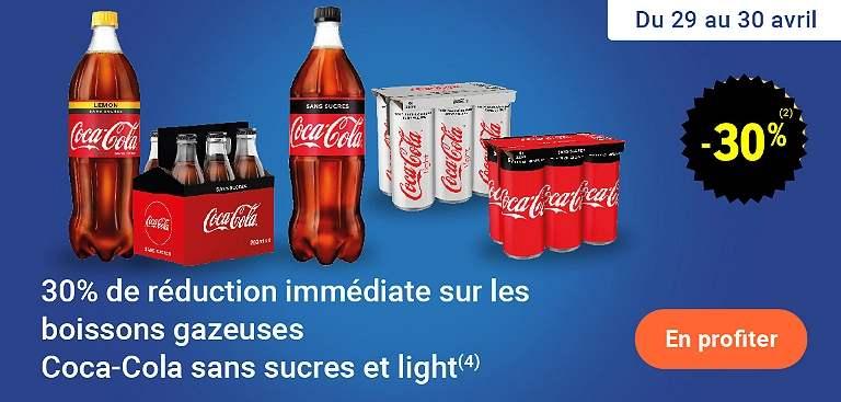 Sélection d'offres promotionnelles - Ex : 30% de remise sur le Coca-Cola sans sucres/light