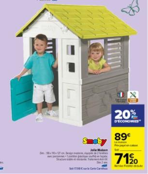 Jolie maison Smoby - 98 x 110 x 127 cm (via 17.80€ sur la carte de fidélité)