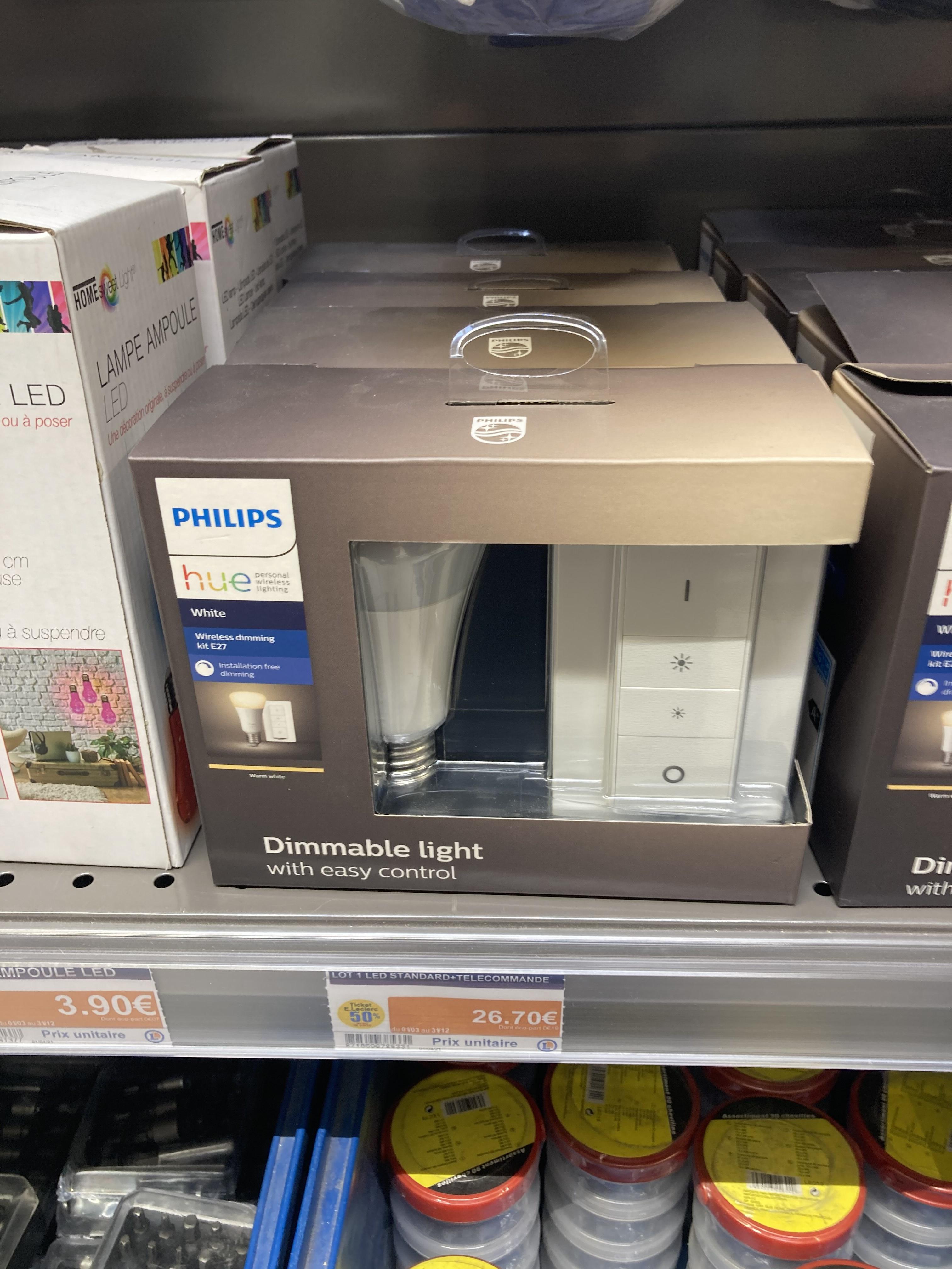 Ampoule connectée Philips Hue White E27 9.5W + Télécommande Dim (Via 26,70€ sur Carte Fidélité) - Saint-Nazaire (44)