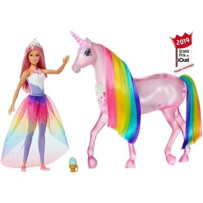 Dreamtopia Barbie et sa Licorne Lum Lumières Magiques - 32cm