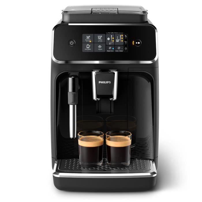 Machine à café expresso automatique Philips Series 2200 EP2221/40 - Broyeur grains, Mousseur à lait (Noir Laqué)