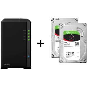Serveur de stockage NAS DS218play - 2 Baies + 2 Disques durs internes SeaGate Iron Wolf - 2To, 5900 tr/min
