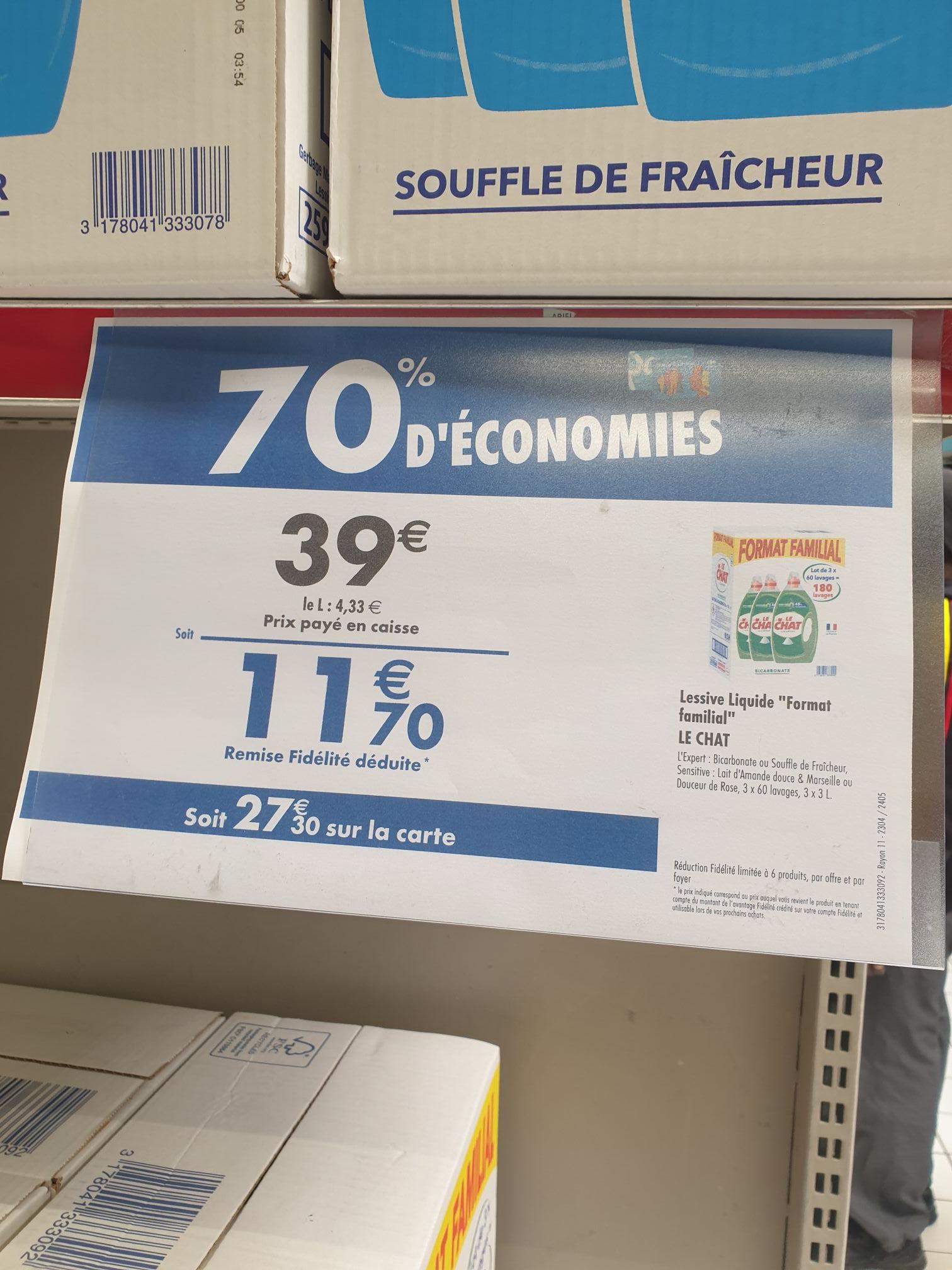 Lot de 3 Bidons de Lessive liquide Le Chat - Variétés au choix, 3 x 60 lavages (Via 27.30€ sur la Carte de Fidélité) - Vénissieux (69)