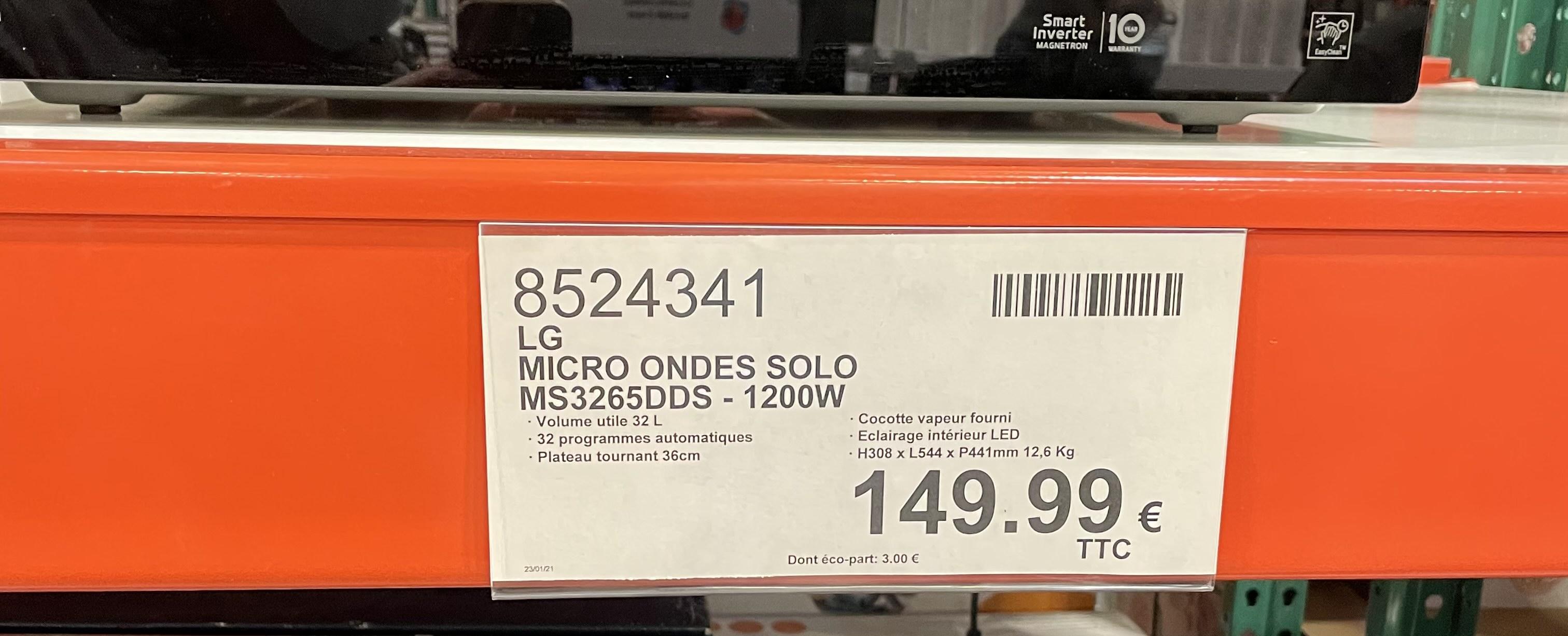 [Carte Costco] Micro-ondes LG Solo MD3265DDS - 1200W (Villebon-sur-Yvette 91)