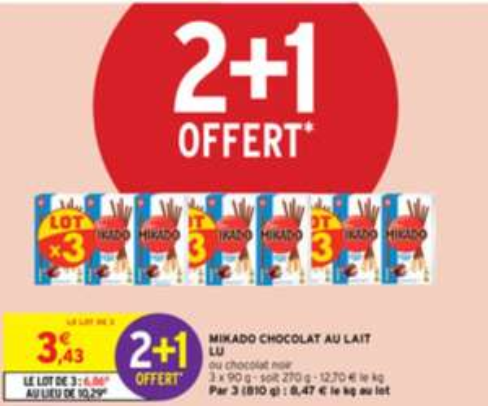 Lot de 9 paquets de Mikado chocolat au lait / chocolat noir