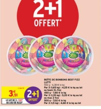 3 boîtes de bonbons Lutti Fizz