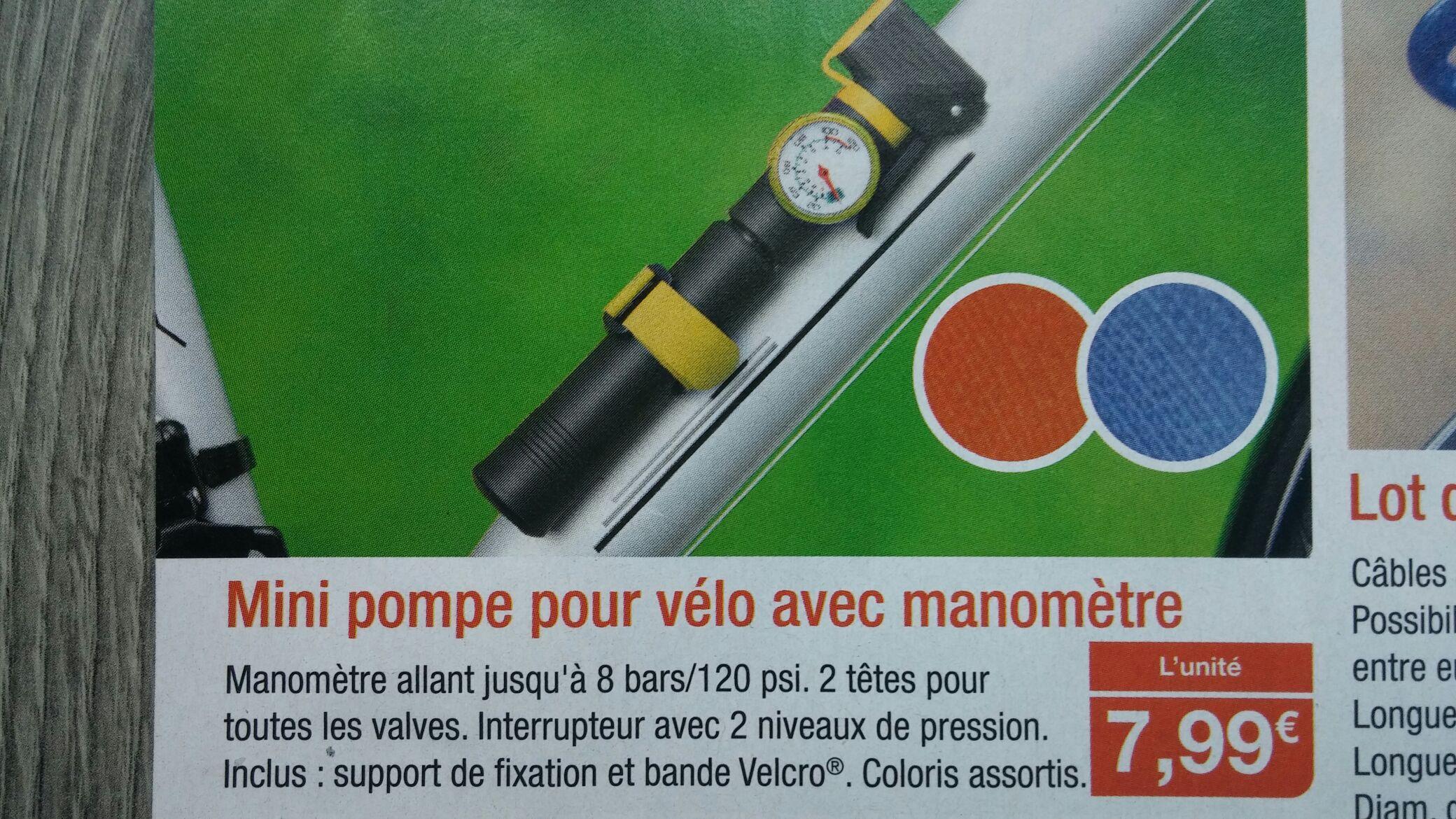 Mini pompe pour vélo avec manometre 8 bars