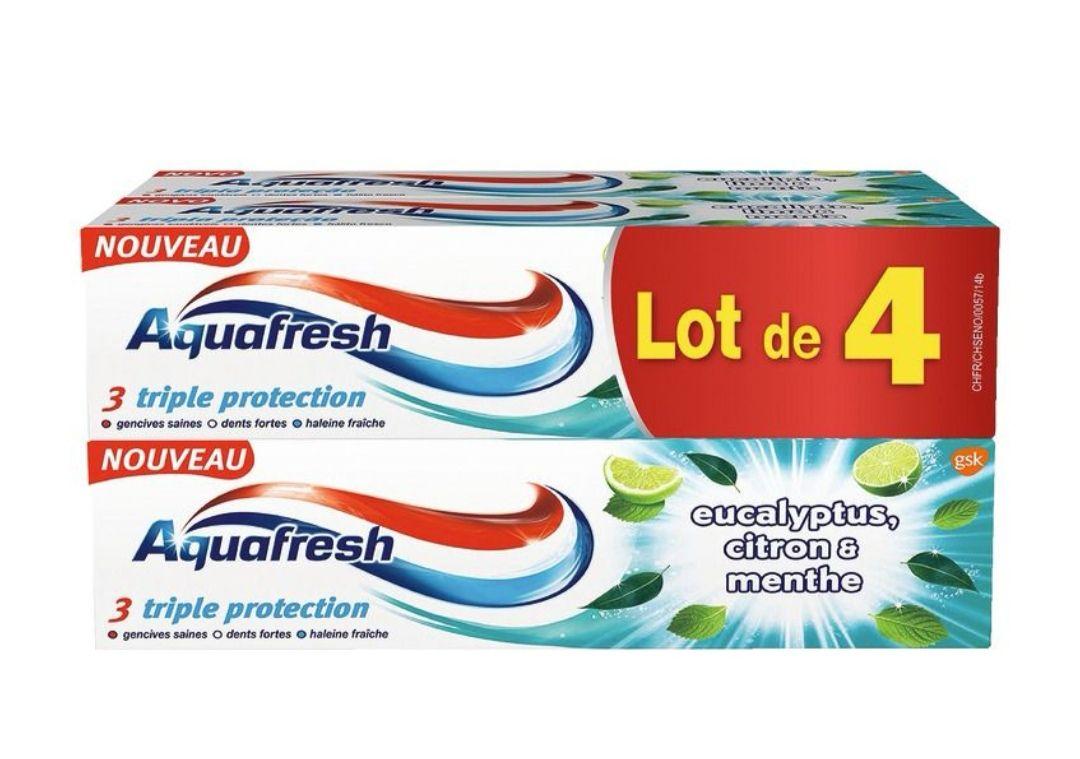 Lot de 4 tubes de dentifrice Aquafresh Triple Protection - Eucalyptus, citron et menthe (4x75ml)