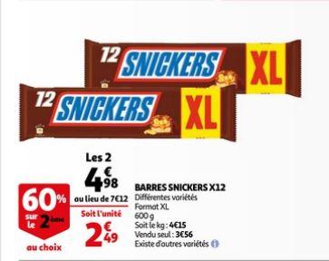 Lot de 2 paquets de Snickers XL (2x12 barres )