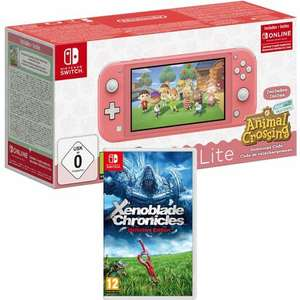 Pack Console Nintendo Switch Lite Corail Animal Crossing + Xenoblade Chronicles Definitive Edition