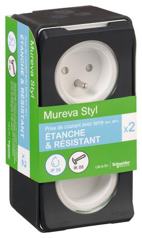 Lot de 2 prises 2P + T extérieures Schneider Electric Mureva Styl