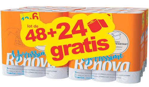 Paquet de 72 rouleaux de papier toilette Renova