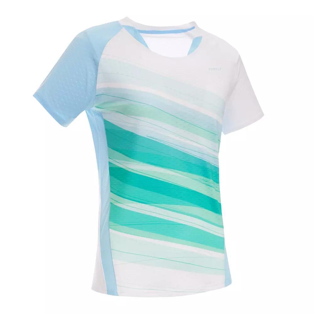Sélection d'articles en promotion - Ex: T-shirt de badminton Femme Perfly 560 - Blanc Glacier/Bleu Ciel Pastel (Tailles au choix)