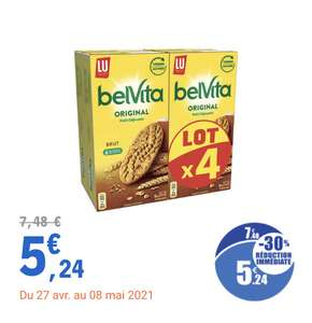 Lot de 4 paquets de Biscuits Lu Petit Déjeuner Belvita - 4 x 400g