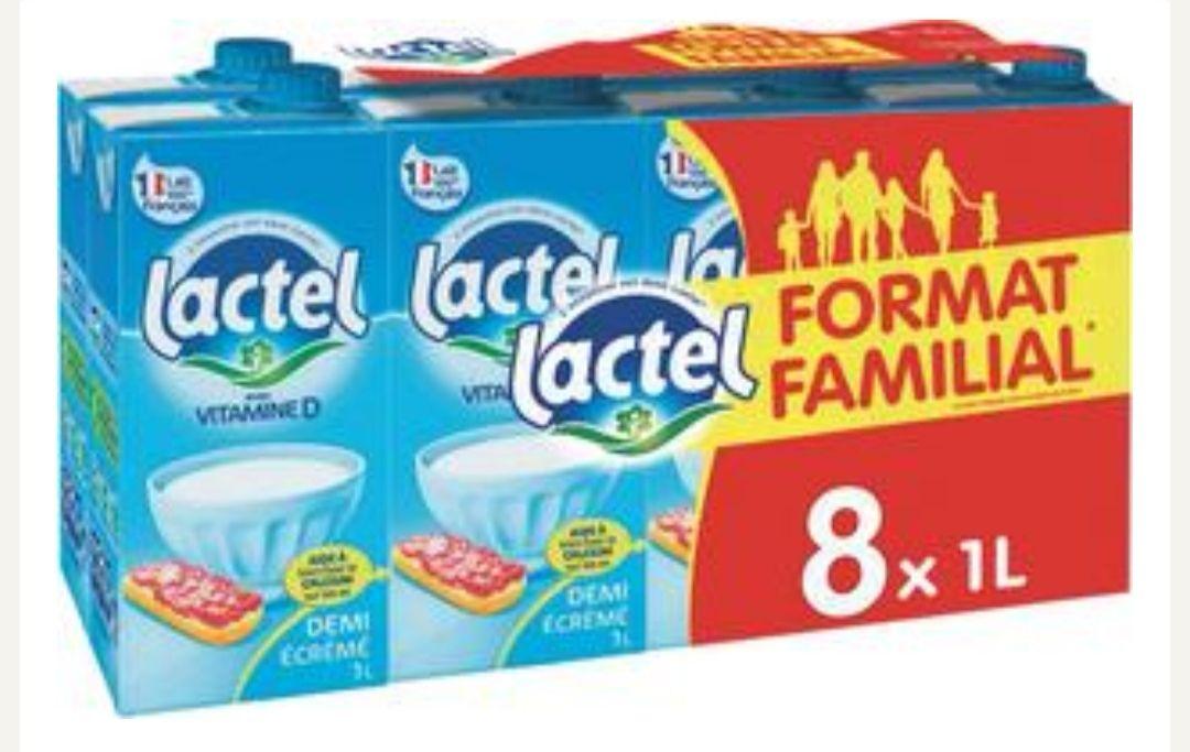 Lot de 2 packs de 8 bouteilles de lait UHT demi-écrémé Lactel (16 x 1L)