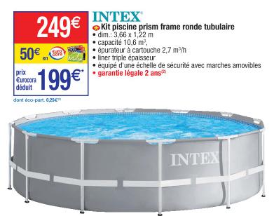 [Carte Cora] Piscine ronde tubulaire Intex - 3,66m x 1,22m (via 50€ sur le compte fidélité)