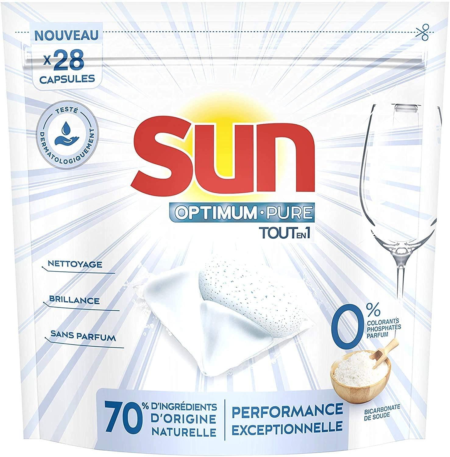 Paquet de 28 capsules lave-vaisselle Sun Optimum Pure Tout-en-1