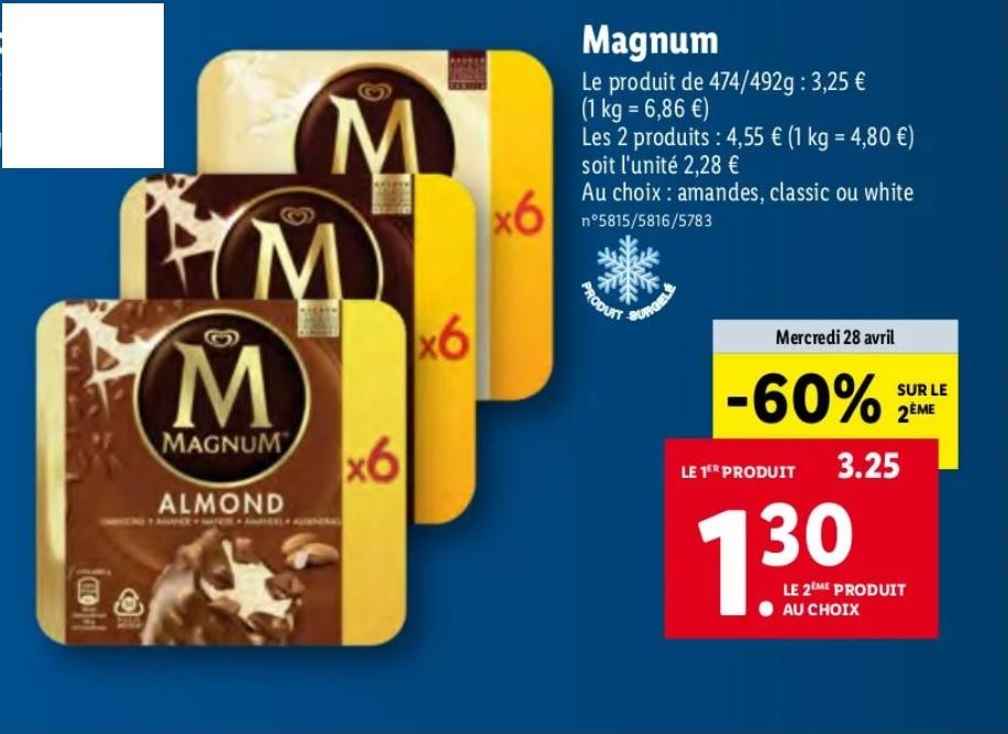 Lot de 2 boites de 6 bâtonnets de glace Magnum